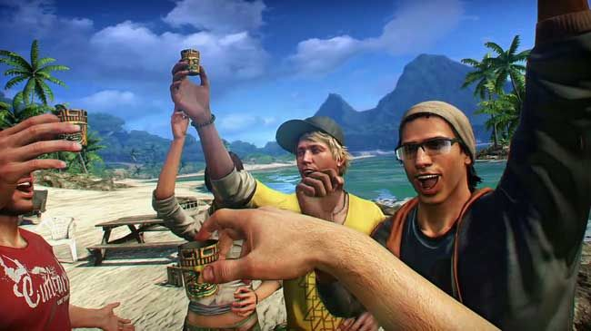 FarCry 3's co-op looks like this, minus any drinking or the dude-bros.