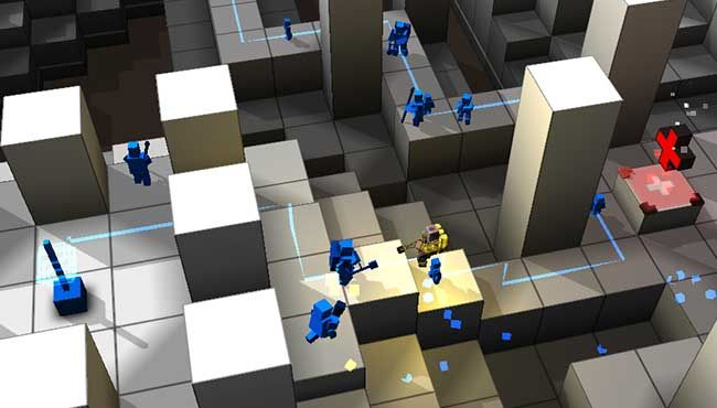 In the game's Rescue mode, you protect your own trail of cubemen while fending off another.