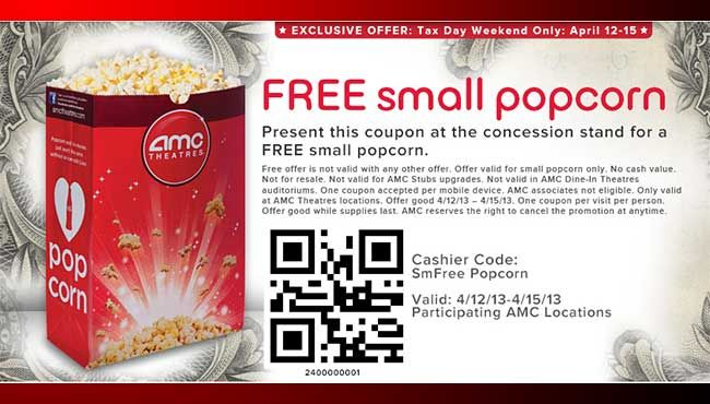 AMC To Give Free Popcorn This Weekend In Celebration Of Tax Day