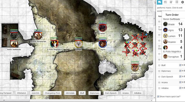 A roll 20 map, with character tokens.